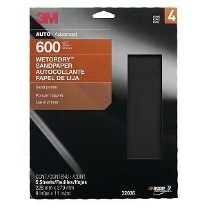3M Sandpaper Wet or Dry Sheets, P600 grit, 9 x 11 inch, 32036