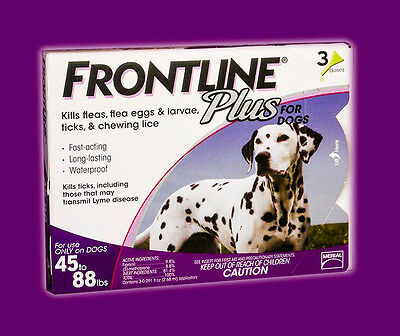 Frontline Plus (3-Pack) PURPLE for Dogs 45-88 lbs **SEALED BRAND NEW**