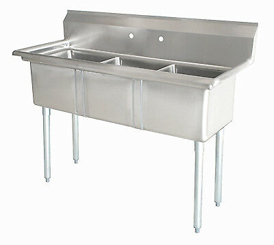 Commercial (3) Three Compartment Stainless Steel Sink 50 x 21 New