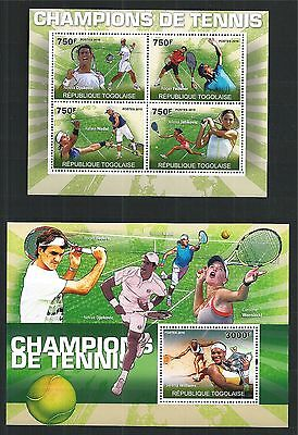 Togolaise Togo 2010 Block Mini Sheet Set Tennis Stars Nadal Federer ** Mnh