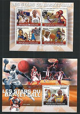 Togolaise Togo 2010 Block Mini Sheet Set Basketball Stars Bryant Allen ** Mnh