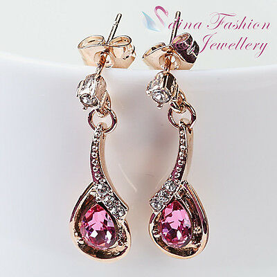 18K Rose Gold Plated Made With Swarovski Crystal Delicate Teardrop Pink Earrings