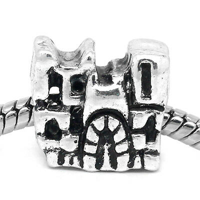Wholesale Lots European Charm Spacers Beads Castle Silver Tone 13mmx12mm