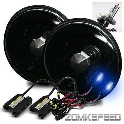 "7"" Round Semi-Seal Glass Black Housing Headlights Conversion w/ 10000K H4-2 HID"