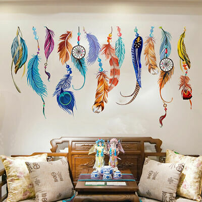Colour Feather Wall Stickers Vintage Decor Removable Vinyl Decal Art Mural Gift