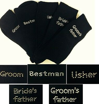 Diamon'T Mens Rhinestone Black Wedding Socks Groom Best Man Brides Father etc