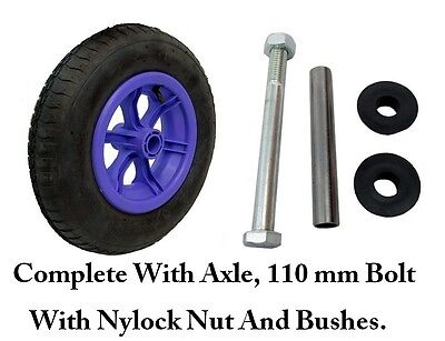 "LILAC SPOKED + AXLE  14"" Pneumatic Wheelbarrow Wheel Tyre 3.50 - 8 INNER TUBE"