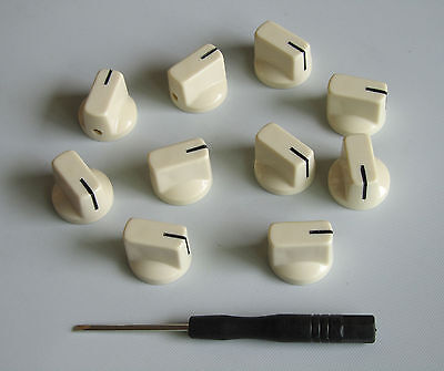 10x Guitar AMP Effect Pedal Knobs Davies 1510 Style Pointer Knob Aged White