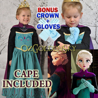 Girls Frozen Queen Elsa Coronation Costume Party Birthday Dress with CAPE 2-13Y