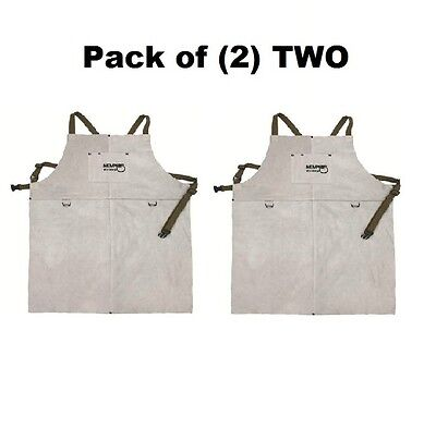 (2) TWO 38136MW Memphis Welding Leather Bib Aprons Front Pocket 24in x 36in NEW
