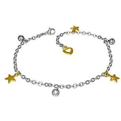 Stainless Steel Silver Yellow Gold Two-Tone Stars Adjustable Anklet Bracelet