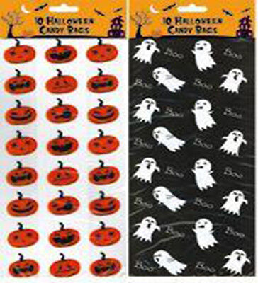 Halloween Trick or Treat Bags Candy Sweets Ghost Pumpkin Party Goody Bag X10