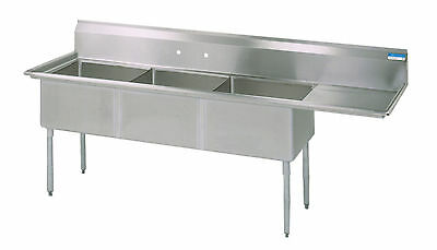 Commercial Stainless Steel (3) Three Compartment Sink 74.5 x 24 New