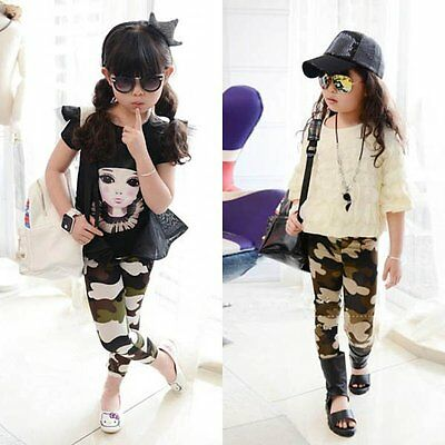 Cool Baby Kids Girl Camo Pants Stretch Camouflage Leggings Long Trousers 2-7Y