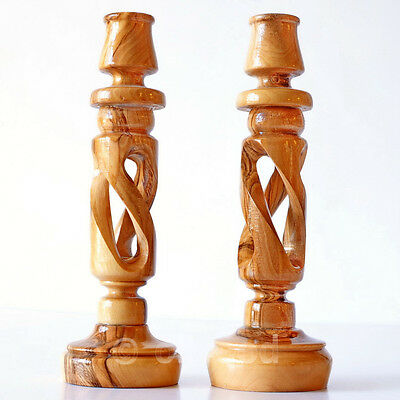 """Pair 6"""" / 8"""" Long Tall Candlesticks Olive Wooden Carved Set of 2 Candle Holders"""