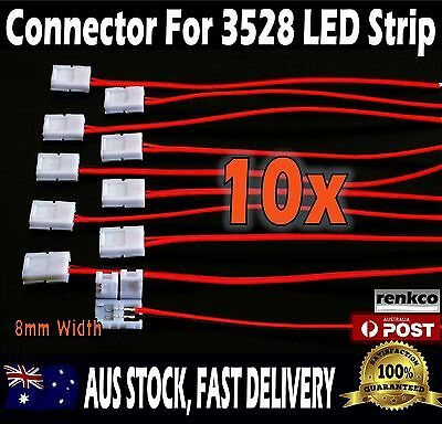 For Single Colour 3528 LED Strip Lights 10pcs 8mm PCB board With Wire Connector