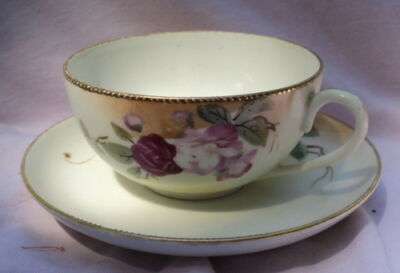 Nippon Hand Painted Cup & Saucer Fine Bone China 1900s