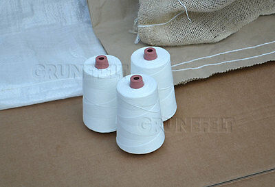 New 3 Cones 100% Polyester White 12/4 Thread for Portable Bag Closer Stitcher