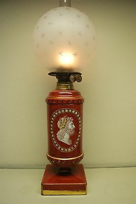 Antique Oil Kerosene English Pottery Porcelain Old Glass Roman Greek Empire Lamp