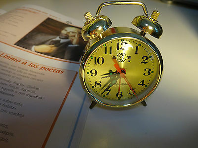 Mechanical alarm clock with manually wind up- cute version- gold color