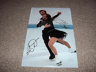 SIGNED 12x8 PHOTO TORVILL & DEAN ICE SKATING DANCING ON ICE OLYMPICS AUTOGRAPH