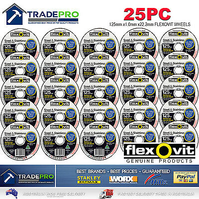 25x Metal Cut Off Wheel 125mm x22 1mm Flexovit® PRO Angle Grinder Cutting Discs