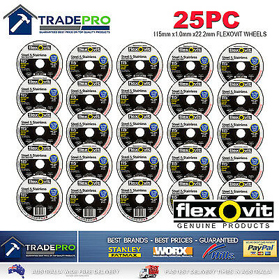 25x Metal Cut Off Wheel 115mm x22 1mm Flexovit® PRO Angle Grinder Cutting Discs