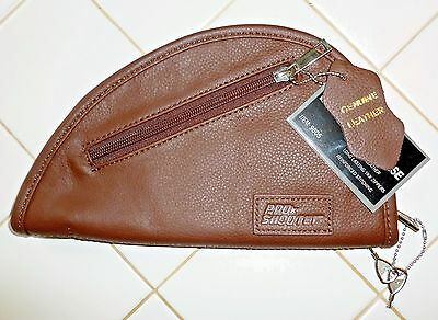 "Locking Leather Pistol Rug Case 9.5 x 5"" Top Quality, Fully Padded, YKK Zippers"