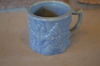 Child's Mug Cup Hankscraft Art Pottery BlueClown- Vintage 1930s-40s for Red Wing