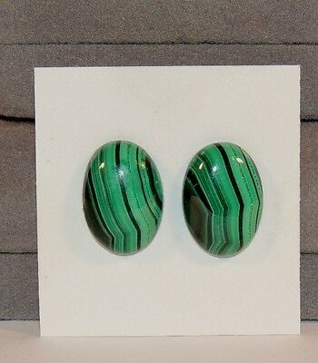 Malachite 13x18mm Cabochons Set of 2 from Africa (7521)