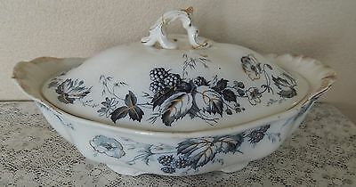 Vintage Alfred Meakin Bramble Blue Covered Casserole Scalloped Bowl Dish Repair