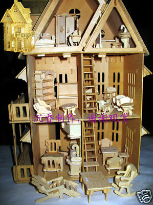 "wooden dollhouse 21""doll wood house 6 rooms & furniture"