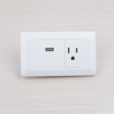 2x Plug Wall Socket Adapter receptacle With USB Power Outlet Charger