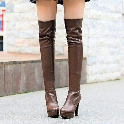 Womens Vogue High Block Heel Platform Pull On Stretchy Ovet Knee Boots Plus Size