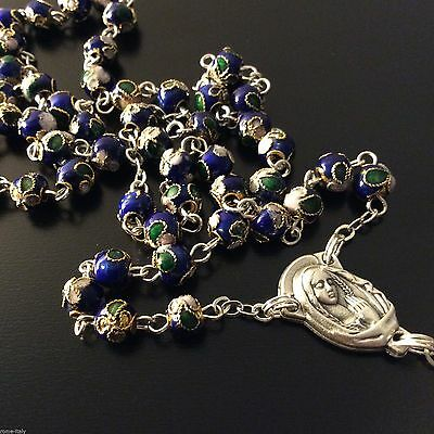 �� �� BLUE Cloisonne Rosary  - Blessed by Pope - VATICAN ONLY - w/ parchment