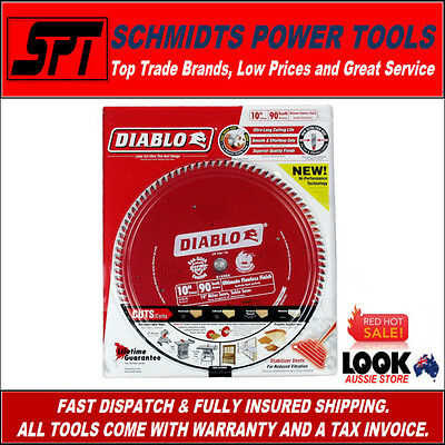 "FREUD D1090X DIABLO 90T 10"" 255mm MITER & TABLE SAW BLADE ATB FLAWLESS FINISH"