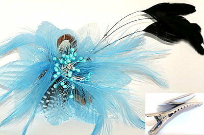 Blue Flower & feather Fascinator on Hair Clip Races Bridal