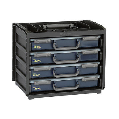 Mixed Assorted Tool Box 4 Draw Compartment Spare Parts Carrier Raaco Handy Box