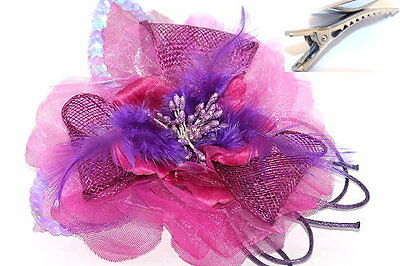 Pink & Purple Mesh &  Feathers fascinator on Hair Clip Races Bridal