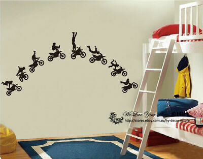 Set of 8 Motocross Motor Bike Wall Decor Removable Decal Stickers Art DIY Mural