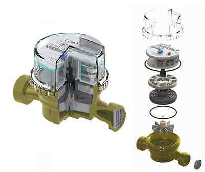 """15mm 1/2"""" Cold Water Meter :: Garden  House Submeter 2.5m3/h Antimagnetic"""