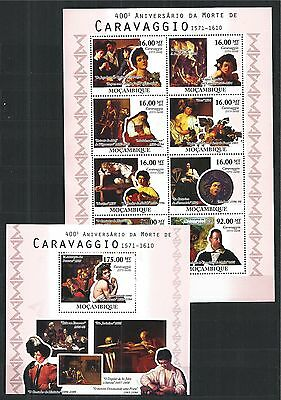 MOZAMBIQUE MOSAMBIK 2010 SET BLOCK MINI SHEET CARAVAGGIO  MNH MiNr: 4087 - 94 A