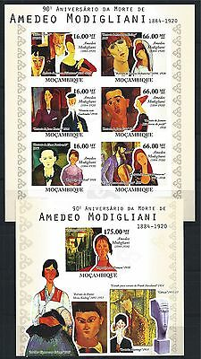MOZAMBIQUE MOSAMBIK 2010 SET BLOCK MINI SHEET MODIGLIANI  MNH MiNr: 4123 - 28 B