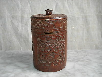 Ancienne BOITE à THE Chine en BAMBOU Sculpté - Antique Carved CHINESE BOX  XIXe