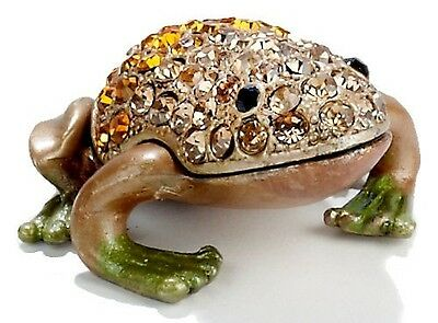 Jewel Amber Frog  ~ Enamel & Jeweled Trinket Box #3746 B