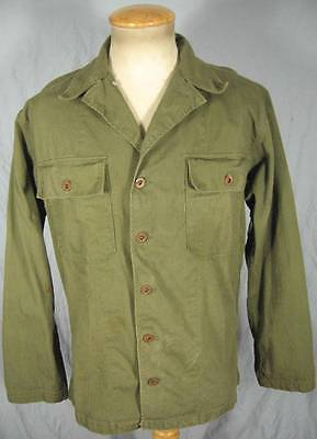 VINTAGE ORIGINAL WW2 KOREA US ARMY HBT SHIRT JACKET METAL STAR BUTTONS MEDIUM