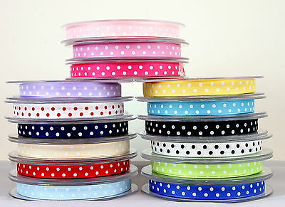POLKA DOT/SPOTTY SATIN RIBBON SINGLE SIDED 10MM-choice of lengths