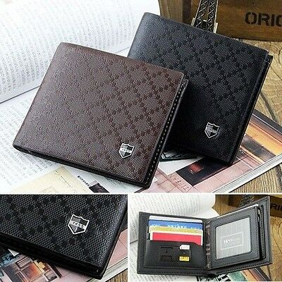 Fashion Men's Leather Wallet Pockets Card Clutch Cente Bifold Purse New 2 Colors