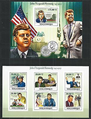 Mozambique Mosambik 2009 Mini Sheet Block Set Imperf John Fitzgerald Kennedy