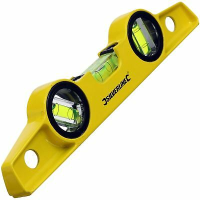 Silverline 273214 250mm 3 Vial Magnetic Spirit Level Scaffolders Boat Pole Tool